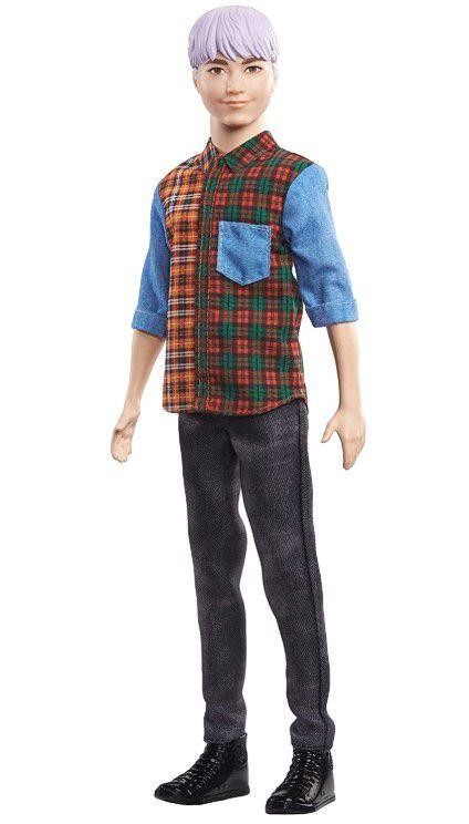 Boneco Ken Fashionistas - 154 Cabelo Colorido Camisa Xadrez Calça Jeans