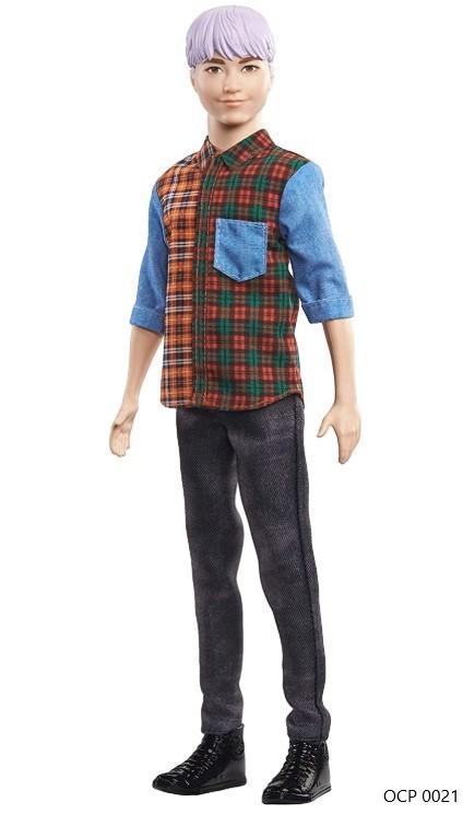 Boneco Ken Fashionistas 154 Cabelo Colorido Camisa Xadrez Calça Jeans - Mattel