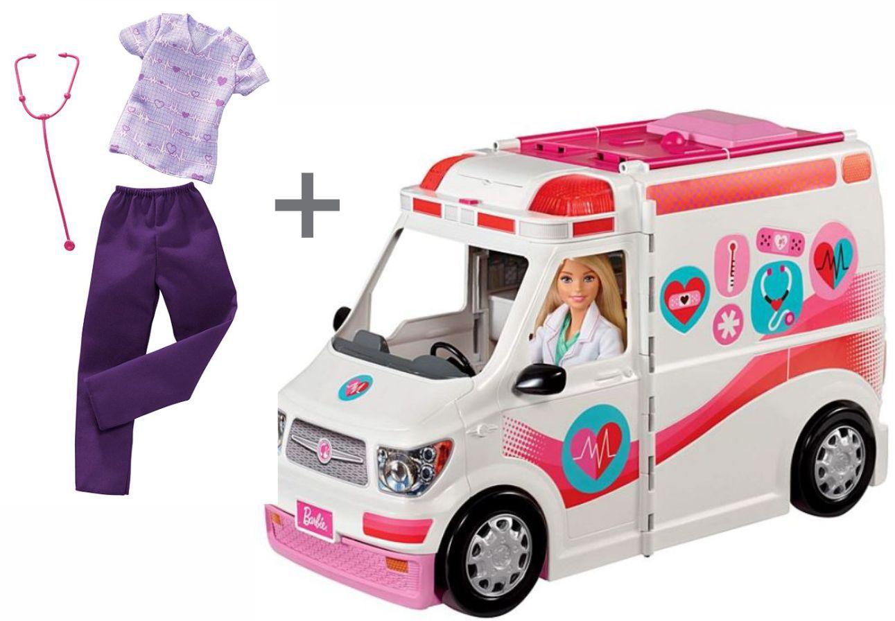 Conjunto Hospital Móvel da Barbie e Roupas e Acessórios Profissões Médica