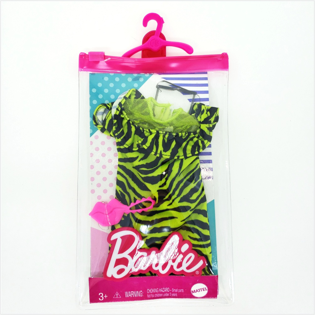 Barbie Roupas e Acessórios - Vestido Verde Neon Animal