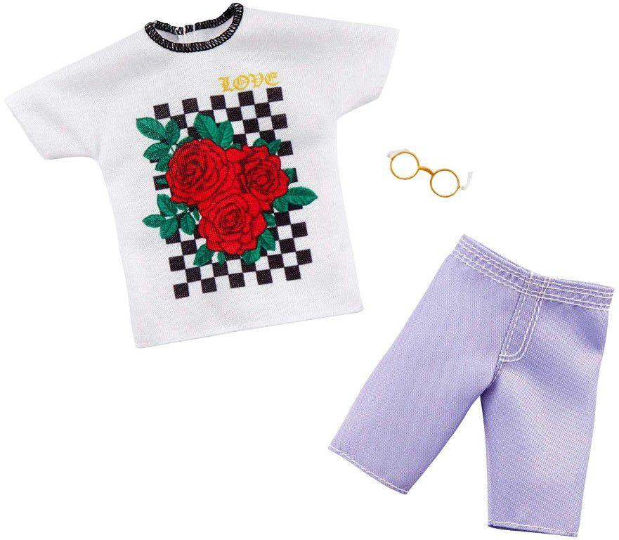 Ken Roupas e Acessórios - Camiseta Branca e Shorts Jeans