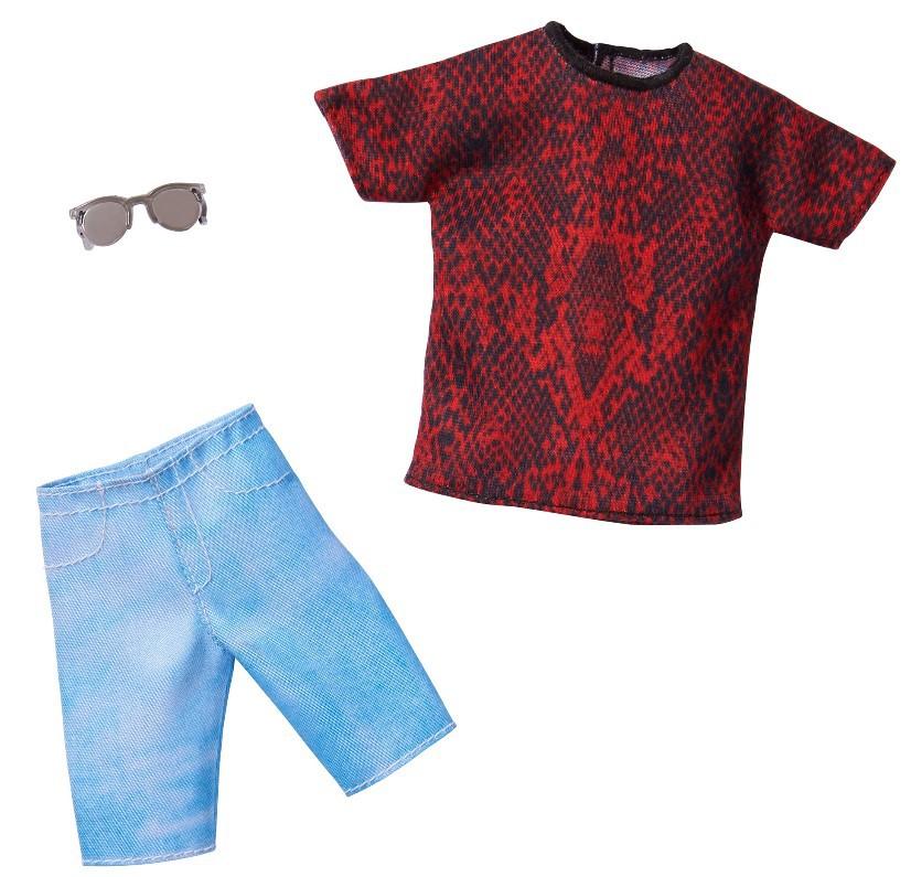 Ken Roupas e Acessórios - Camiseta Vermelho e Preto Shorts Jeans