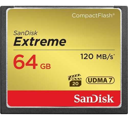 Compact Flash 64gb Sandisk Extreme 120mb 800x Cf Fullhd