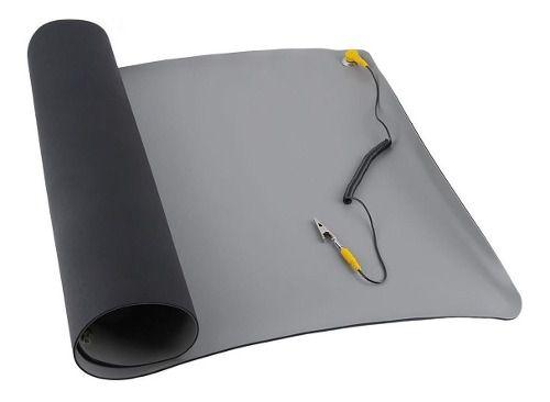 Manta Anti-estática P/ Bancada Esd Com Conector 0,50 X 0,30m Azul Ou Cinza Com Selo Esd Safe Amarelo E Cabo Aterramento