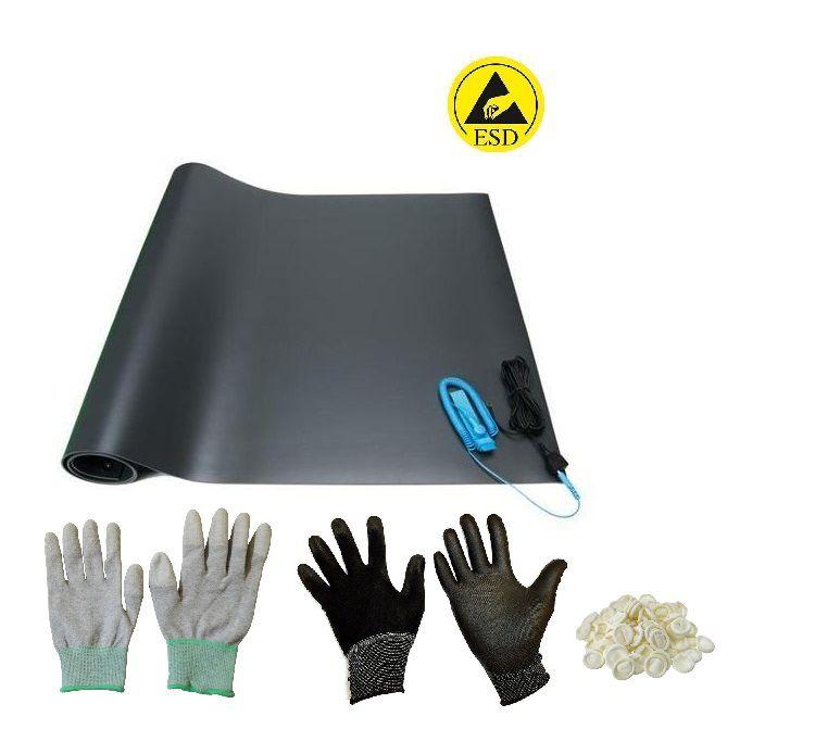 Kit Anti-estático Manta Cabo Pulseira Luva Dedeira Esd