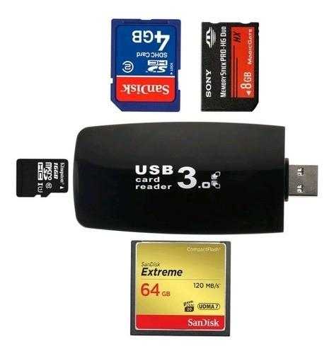 Leitor Cartão Memória 3.0 Usb Rápido Sd Sdhc Microsd Cf Ms