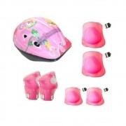 Capacete Kit Infantil +Joelheira+Cotoveleira Rosa Genesi