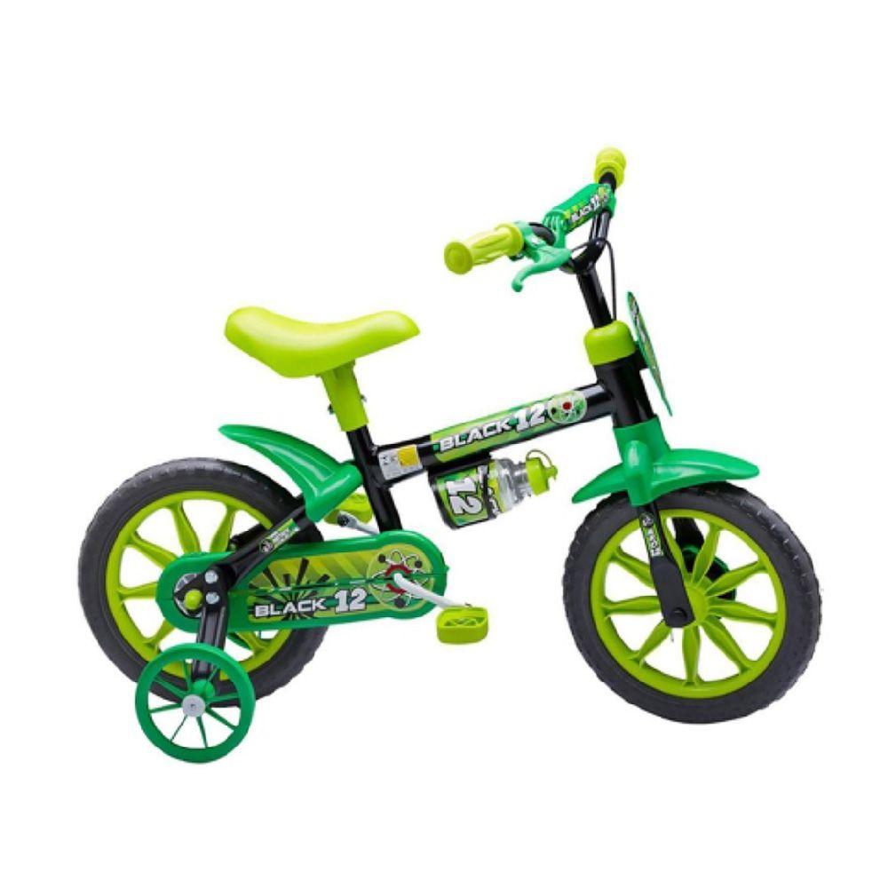 Bcicleta Nathor Aro 12 Black 12 Preta Com Verde Pedal