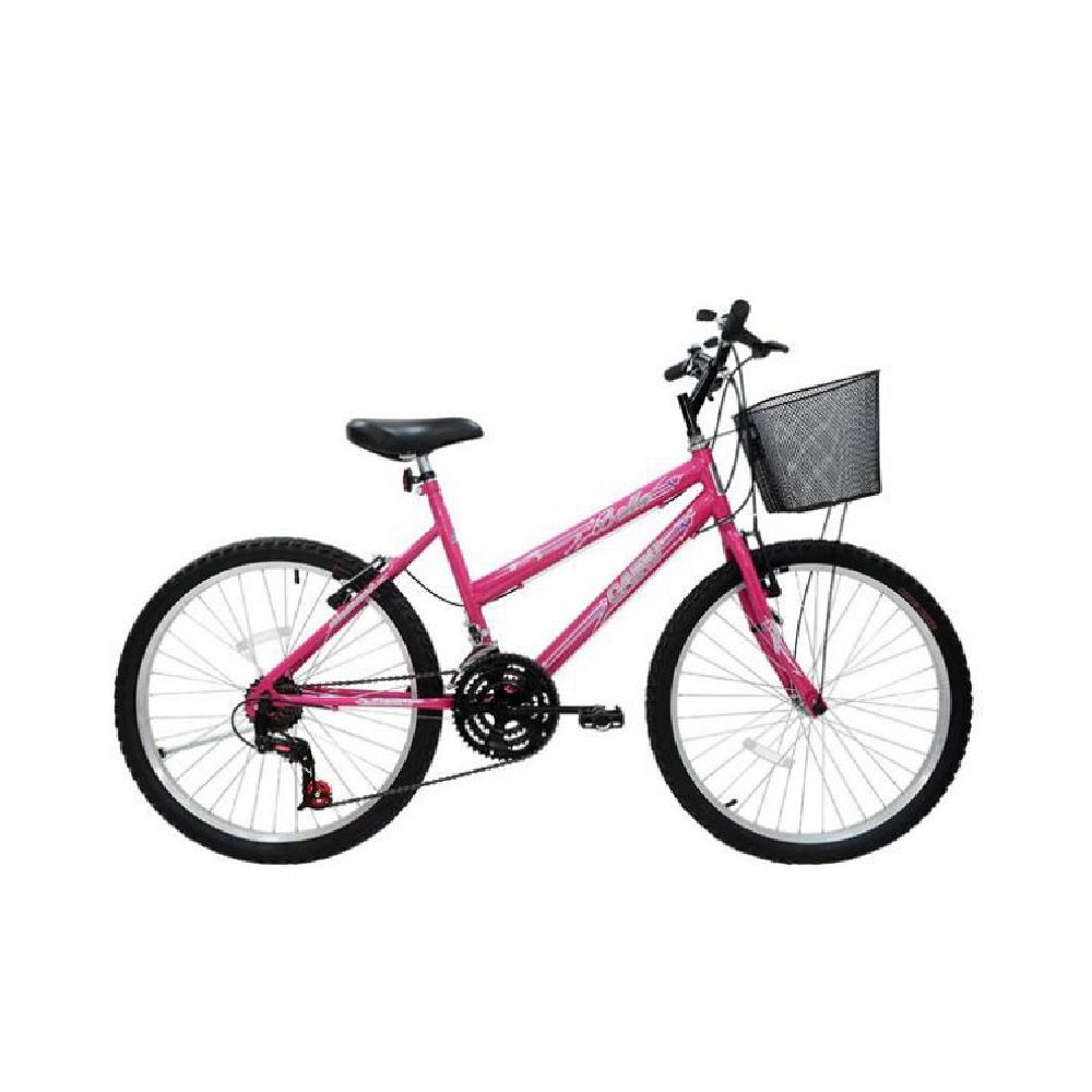 Bicicleta 24 Cairu Bella Rosa 18V  Feminina Basica Cesta