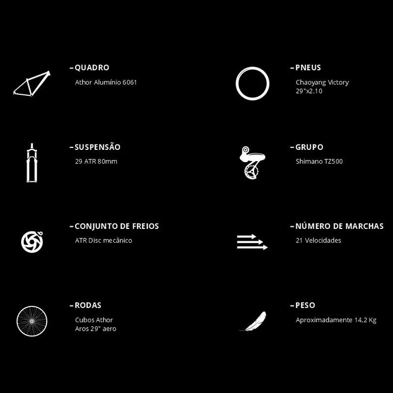 BICICLETA 29 ATHOR android 21v shimano turney Pto/Grafite