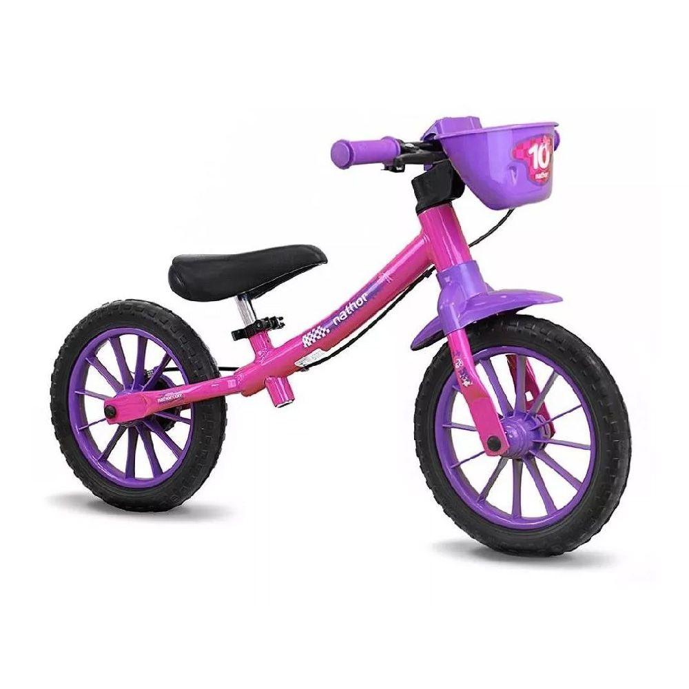 Bicicleta Aro 12 Balance Sem Pedal Nathor Flower Rosa/Lila