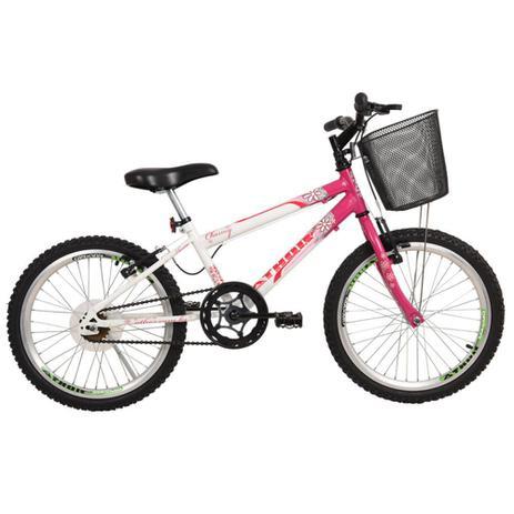 Bicicleta aro 20 Charme C/Cesta  Athor Branco/Rosa