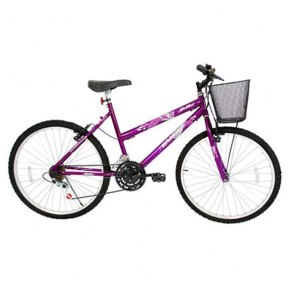 Bicicleta Aro 24 Cairu Bella 18v Violeta Feminina Basica