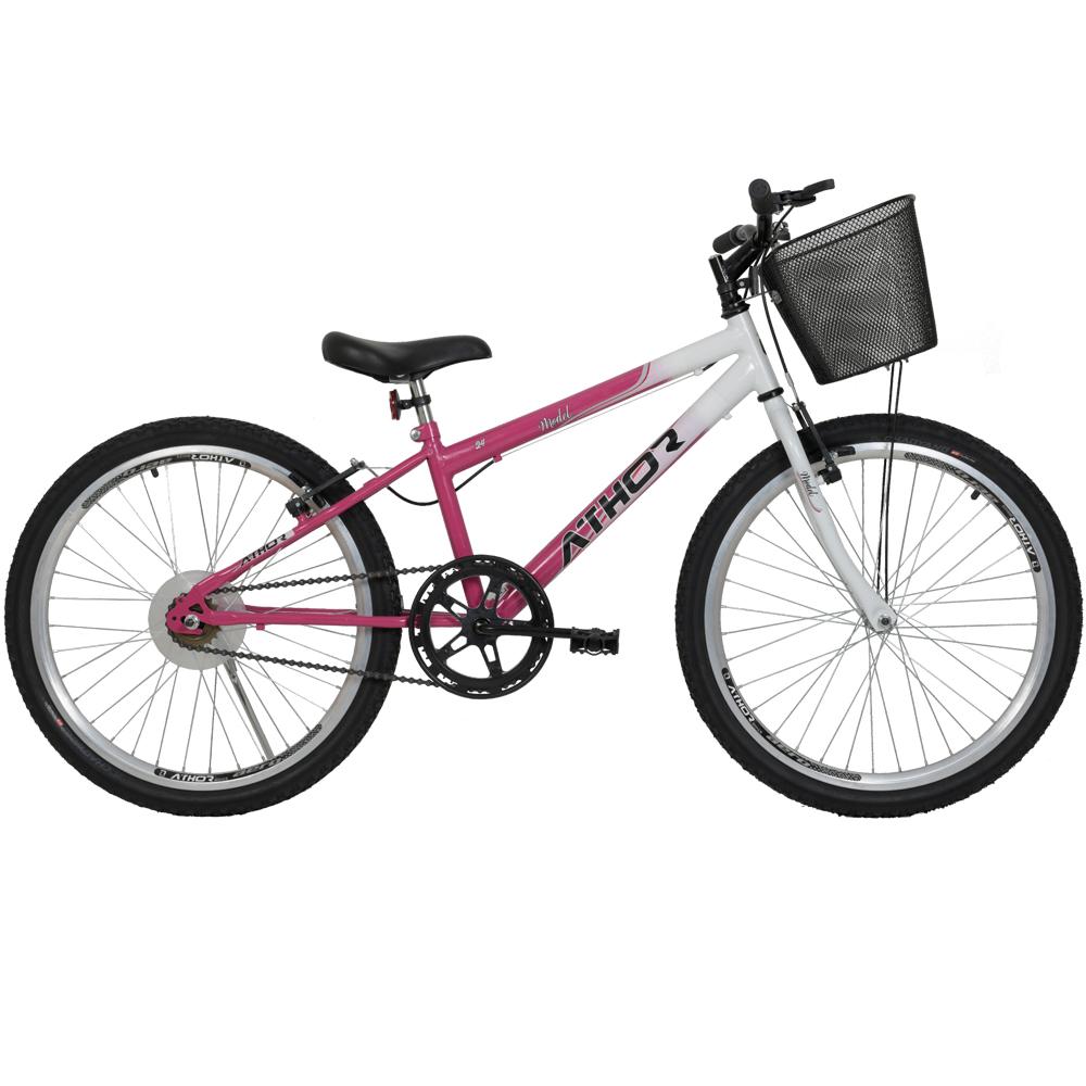 Bicicleta Aro 24 Model Athor Feminina Rosa
