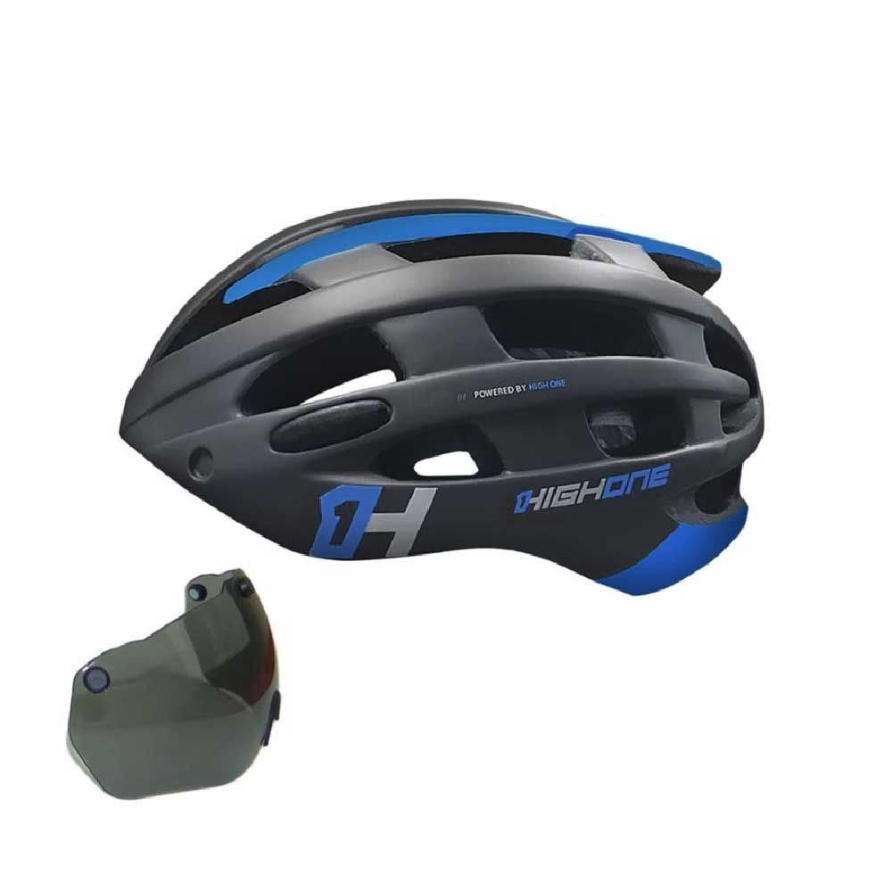 Capacete High One T/G Casco Pto/Azul + Óculos