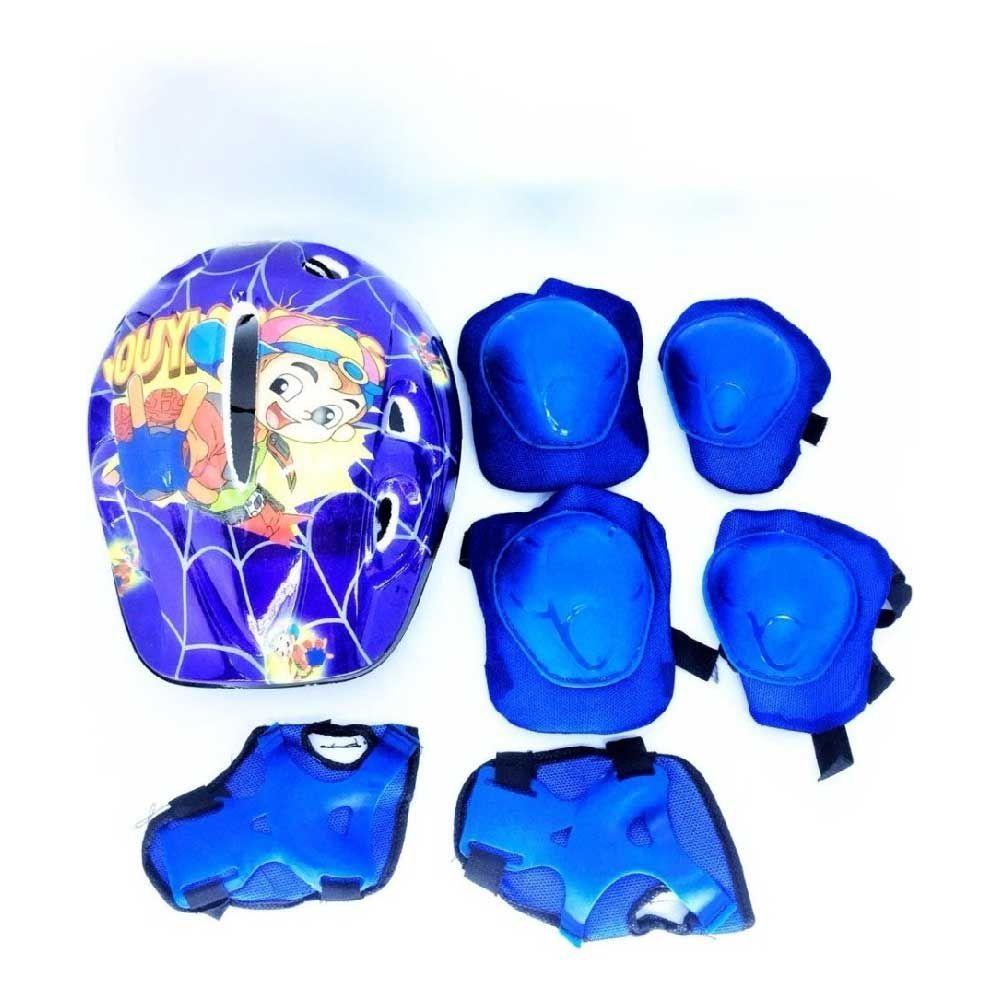 Capacete Kit Infantil +Joelheira+Cotoveleira Azul Genesi