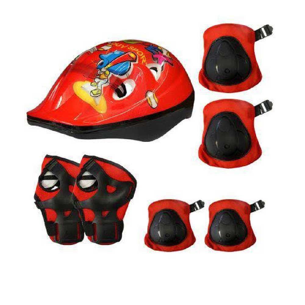 Capacete Kit Infantil +Joelheira+Cotoveleira Vermelho Genesi