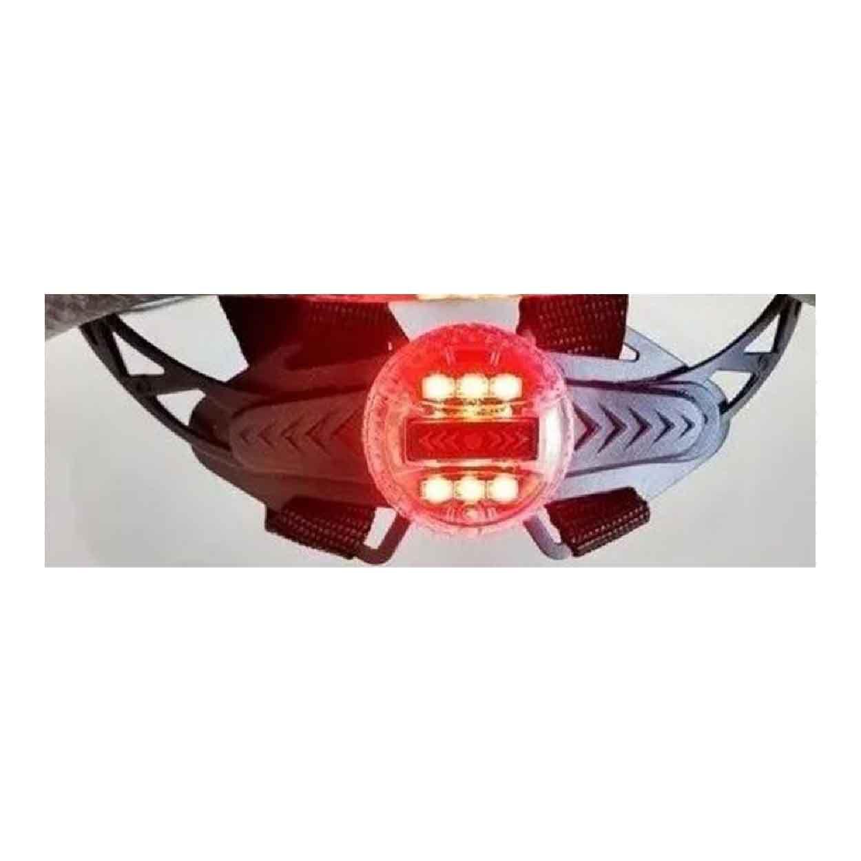 CAPACETE MTB TSW RAPTOR II LED PT/VERMELHO C/VIS. Grande