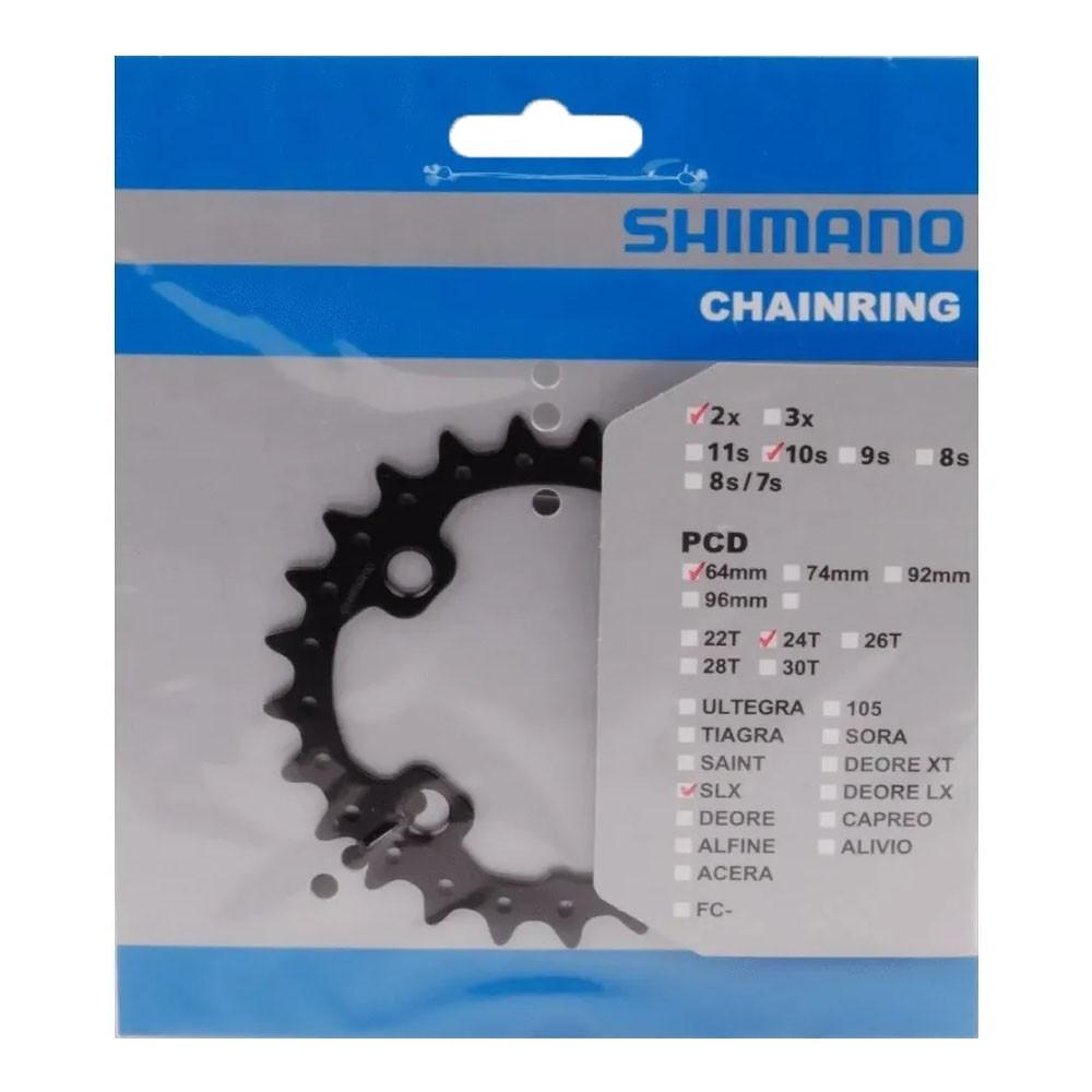 Engrenagem coroa Shimano SLX M675/M615 24 Dentes 10v 20v Bcd 64mm