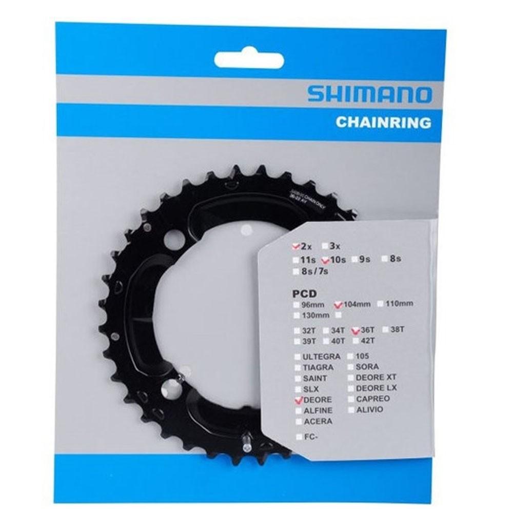 Engrenagem Shimano Deore M617 36D 2X10 BCD 104MM