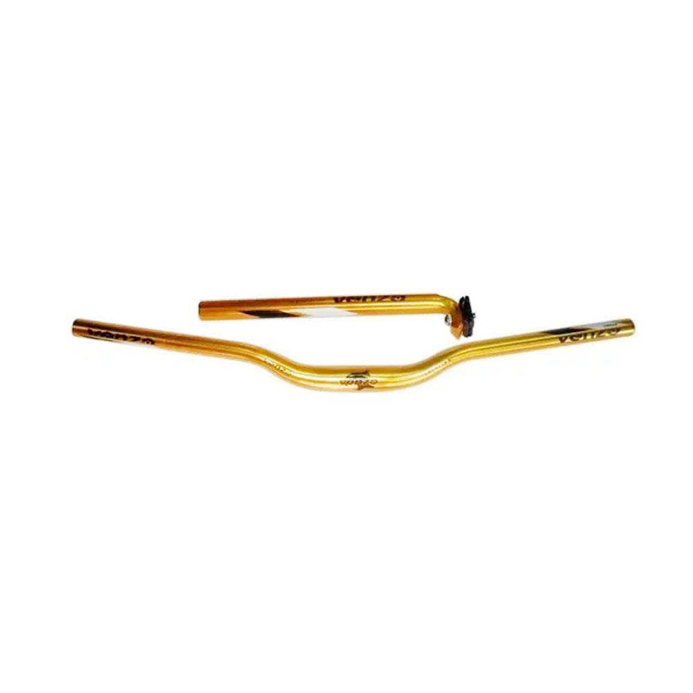 Kit VENZO MTB  5  Guidão 31.8X680 Mesa Canote 27.2 Dourado