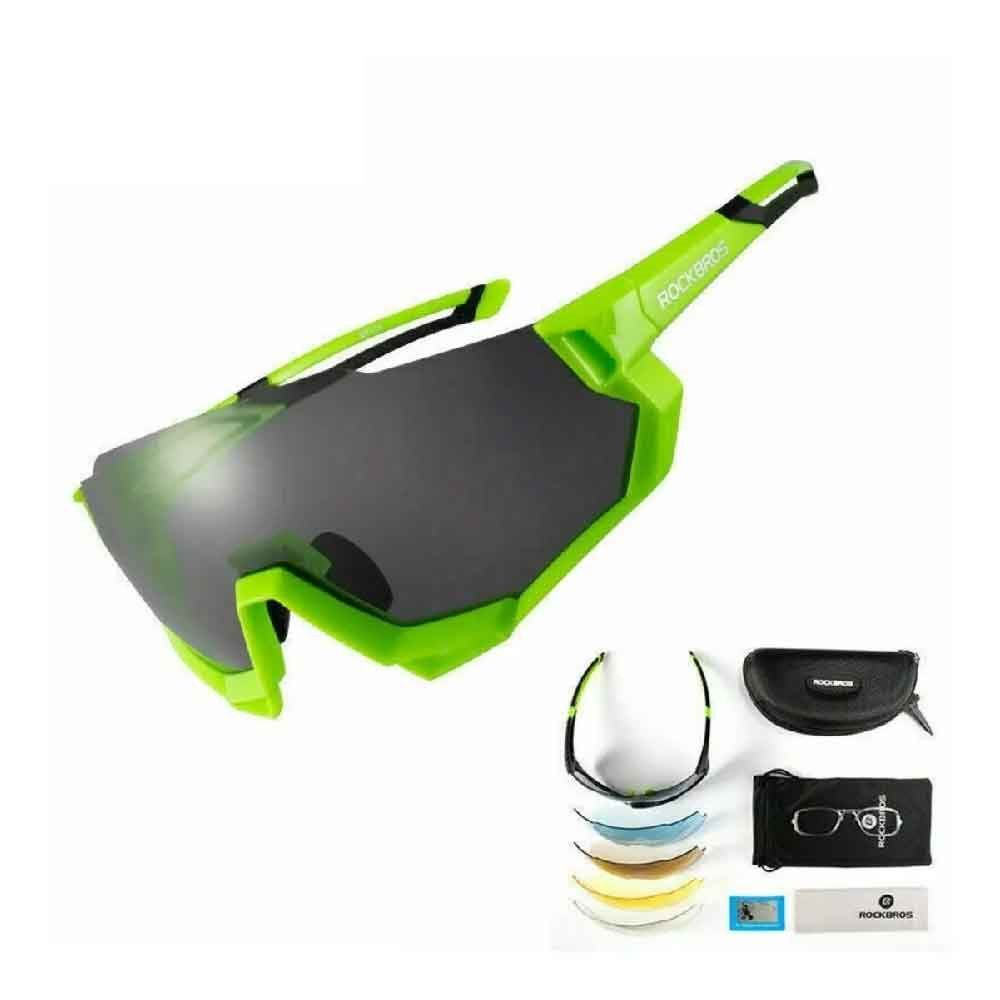 Oculos Rockbros Ciclismo Verde 5 Lentes Polarized 100% UV