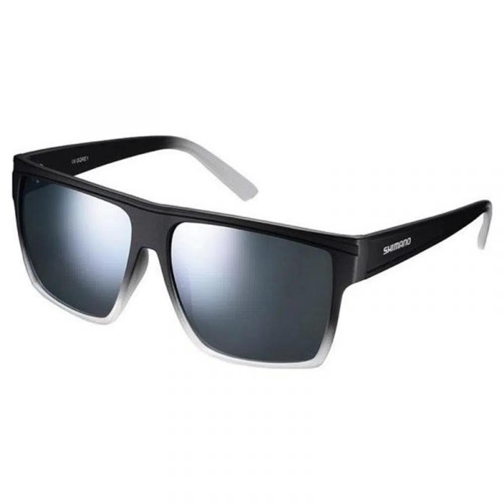 Óculos Shimano Square Preto-branco Lente Cza Fume Espelhado