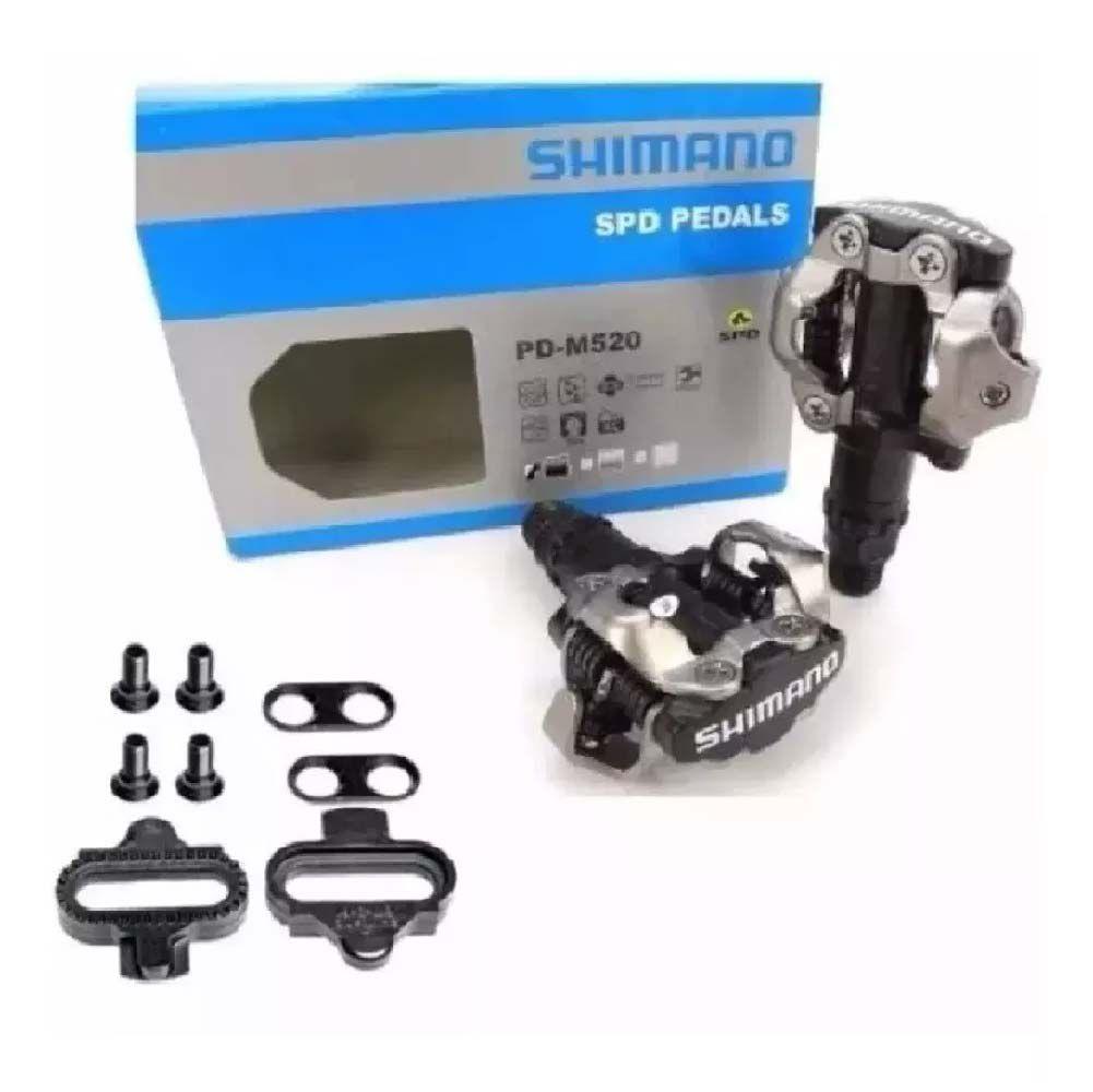 Pedal De Clip Shimano M520 +2 Taquinhos Preto