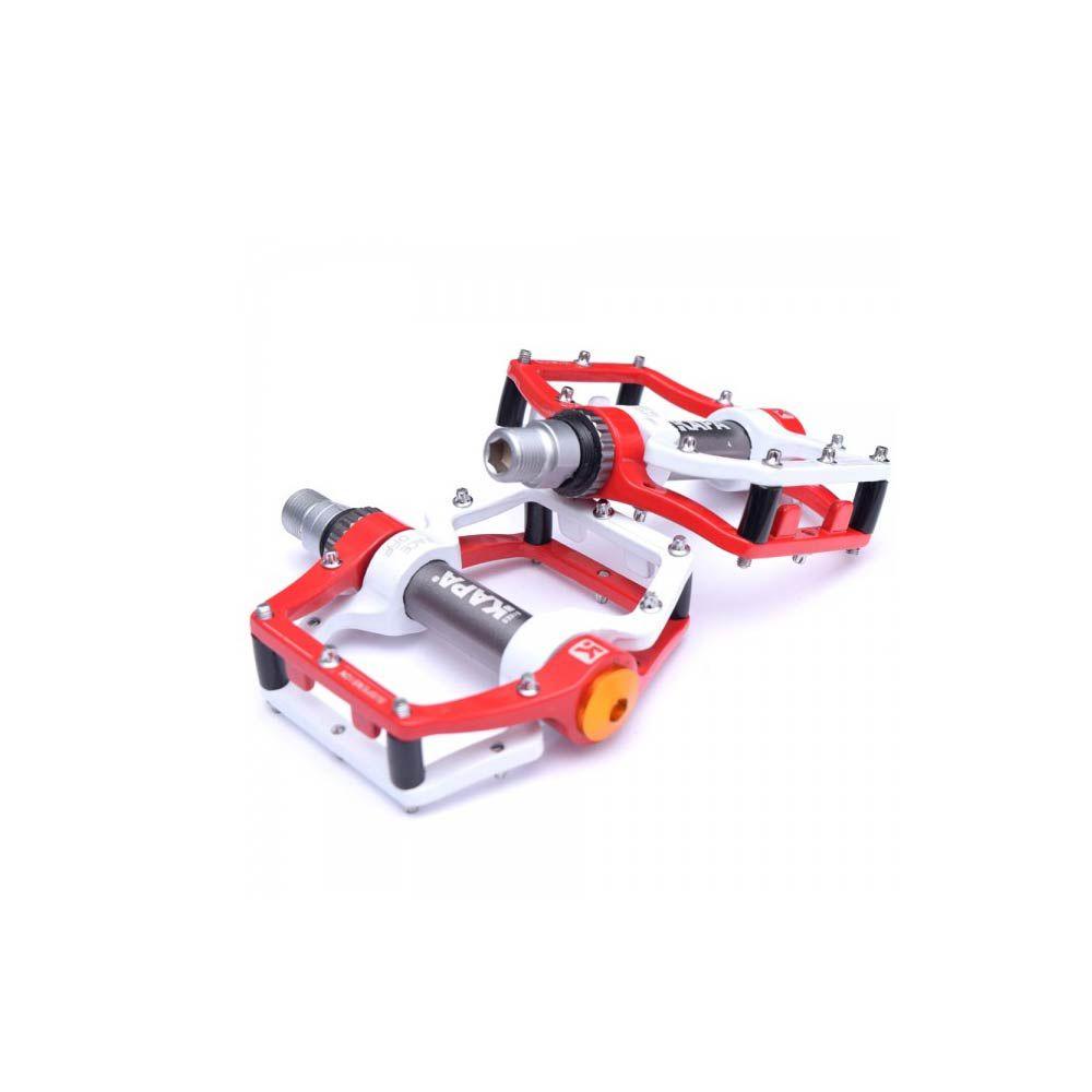 Pedal Plataforma Kapa Com Amortecimento Branco Com Vermelho