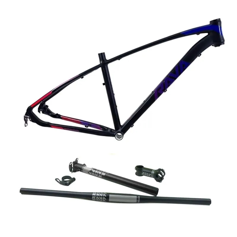 Quadro 29 Mtb Rava Storm Preto/Azul/Vermelho + Kit