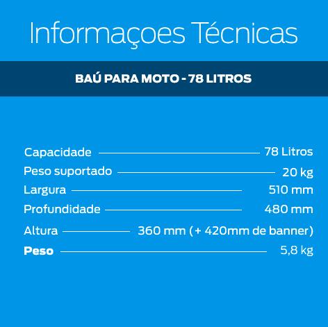 Baú para Moto Rotomoldado de 78 Litros   - Zero Grau Store