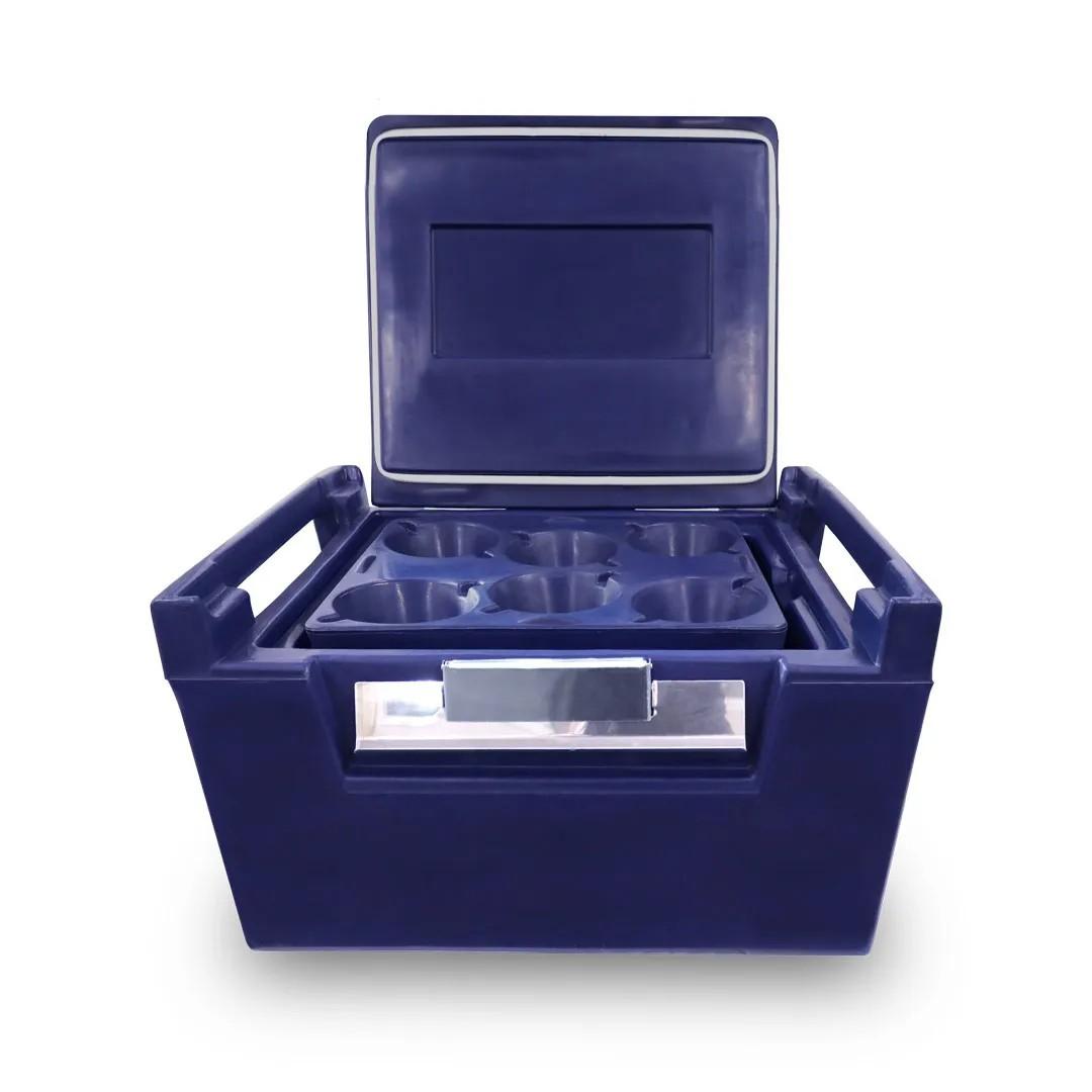 Kit Caixa Térmica Hot Box de 100 Litros + 4 Bandejas para 24 marmitas