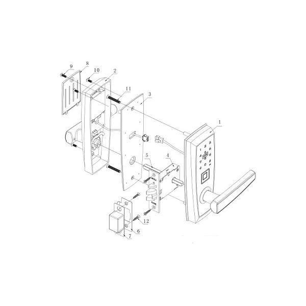 Fechadura Biométrica G-Locks Ébano 400 - Preta - Direita