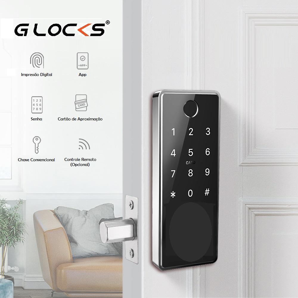 Kit Fechadura Eletrônica G-Locks Ébano 700 Smart Plus + Gateway Wifi Alexa