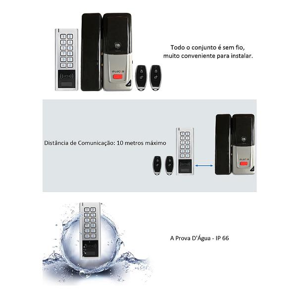 Fechadura Eletrônica G-Locks GCA 15 - Portas de Vidro, Madeira e Metal