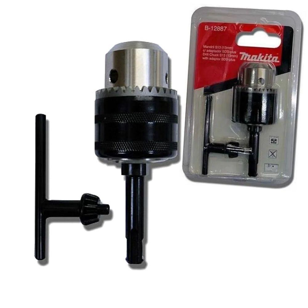 Conjunto de Mandril 13mm, haste adaptadora SDS Plus e Chave MAKITA B-12887