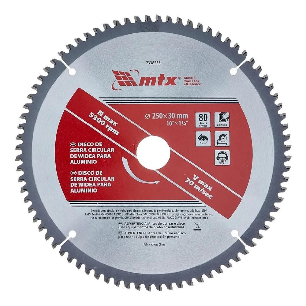 Disco de Serra Circular para Alumínio 10 Pol. 250mm x F30 80 Dentes MTX 7338255