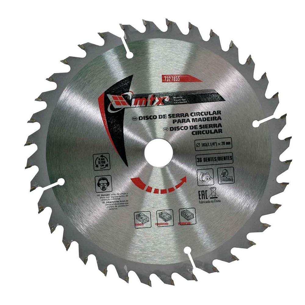 Disco de Serra Circular para Alumínio 7.1/4 Pol. 185mm x 20mm 36 Dentes MTX 7327855