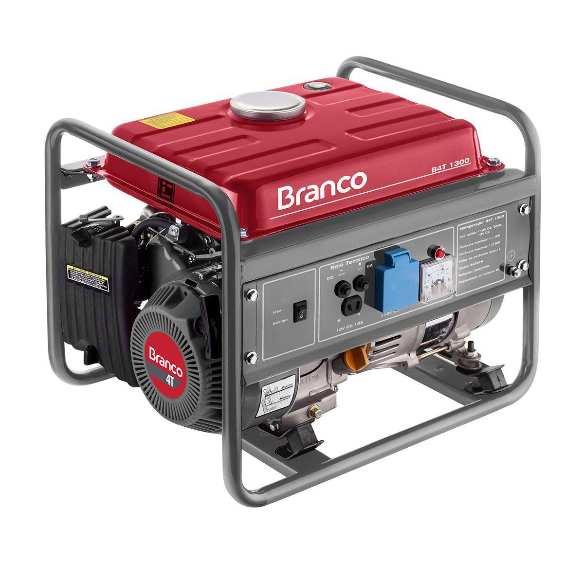 Gerador de Energia à Gasolina 1,3 Kva BRANCO B4T1300