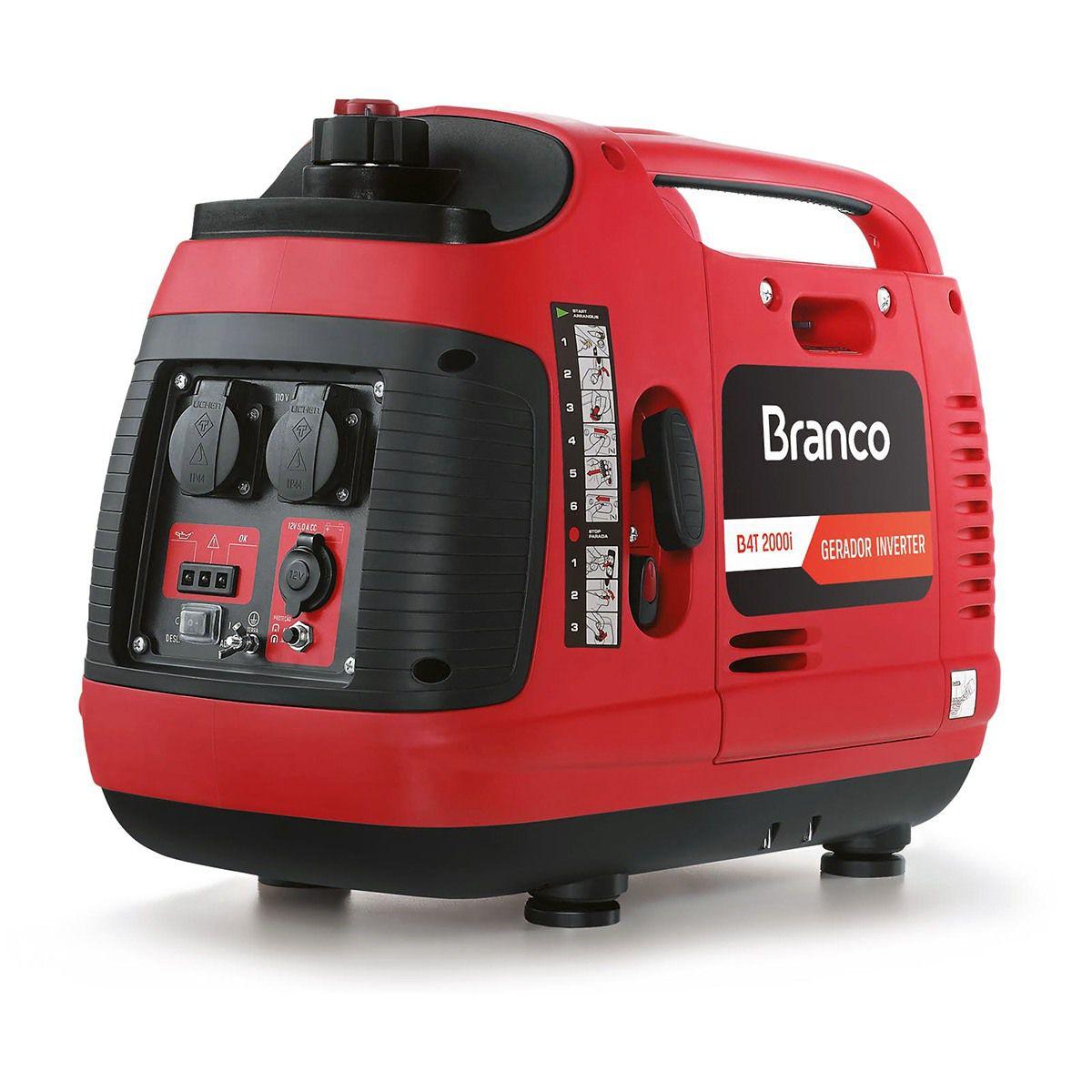 Gerador de Energia à Gasolina 2 Kva Inverter BRANCO B4T2000I