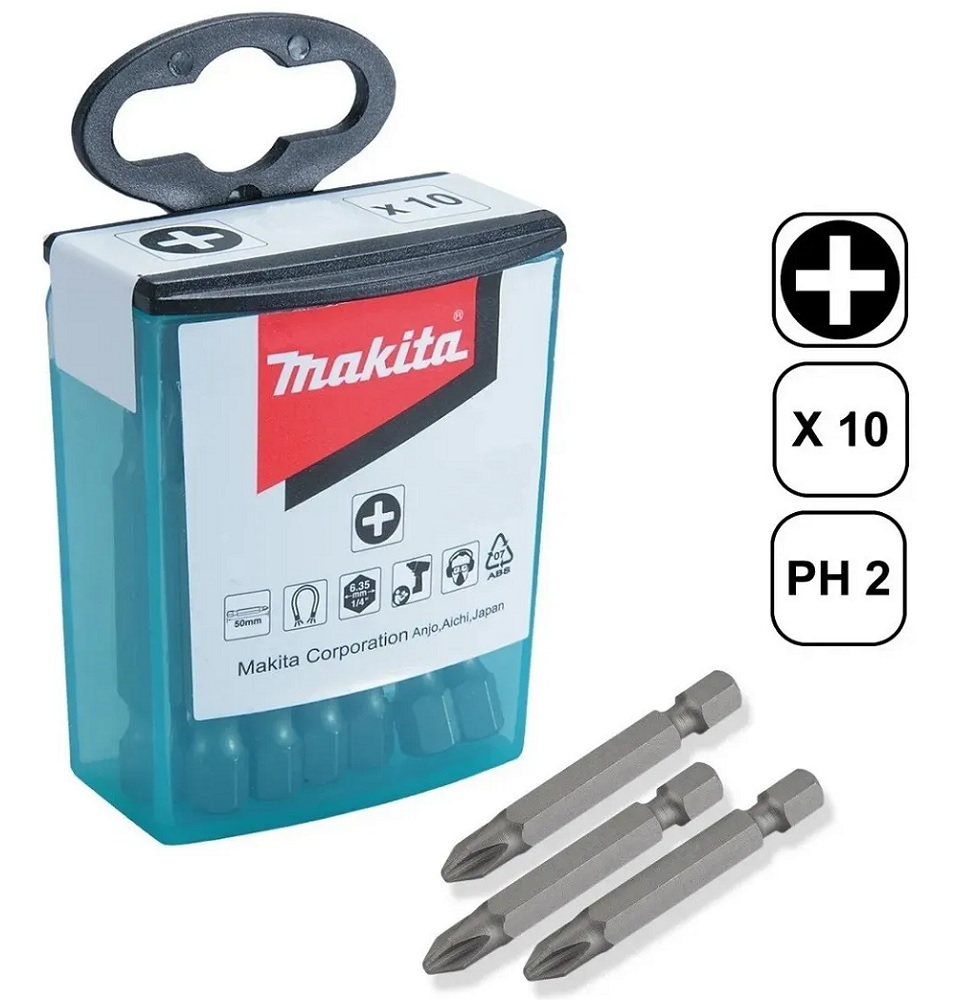 Jogo De Bits Ph2 50mm Magnéticos com 10 Peças MAKITA B-26244