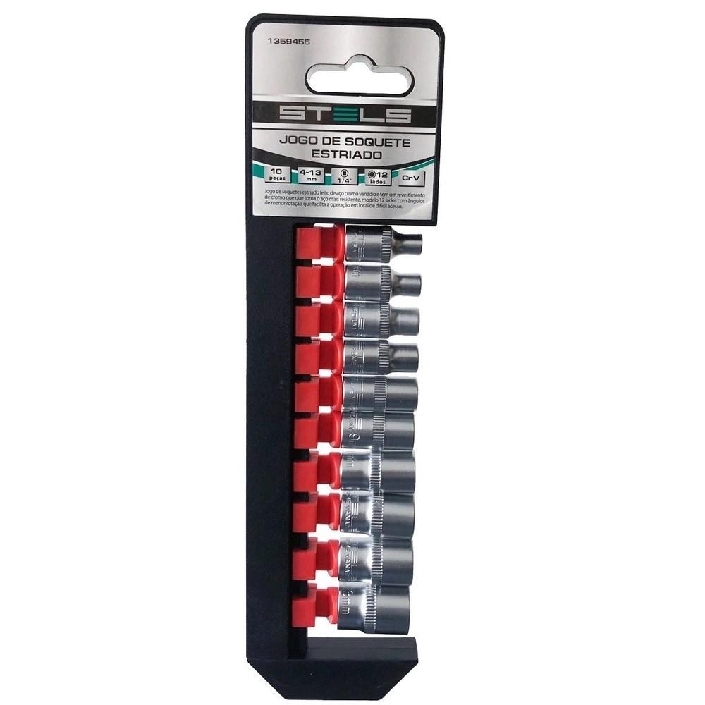 Jogo de Soquetes Estriados 1/4 Pol. 10 Peças 4mm - 13mm STELS - 1359455