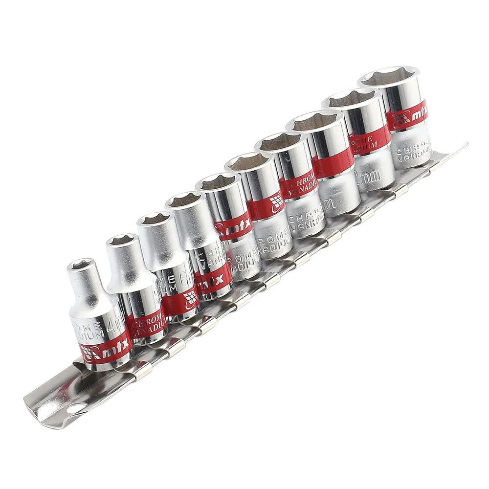 Jogo de Soquetes Sextavados 4mm - 13mm 1/4 Pol. 10 Peças MTX - 135599