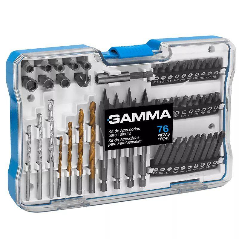 Kit de Acessórios para Furadeira e Parafusadeira 76 Peças GAMMA G19516AC