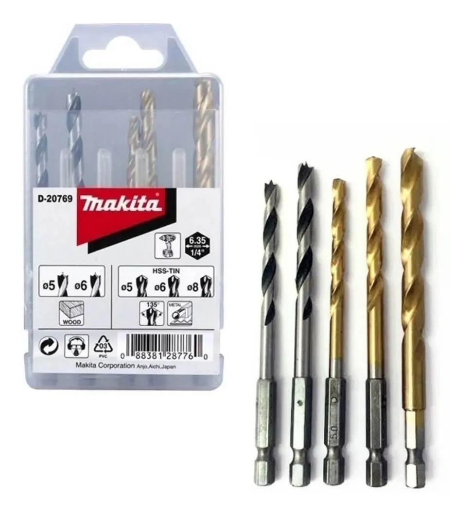 Kit de Brocas Sextavadas Madeira e Metal 5pcs Makita D-20769
