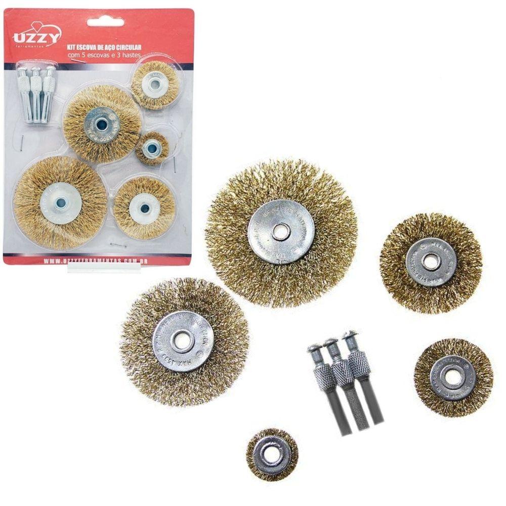 Kit de Escovas de Aço Circular com 5 Escovas e 3 Hastes UZZY YVG287TA5