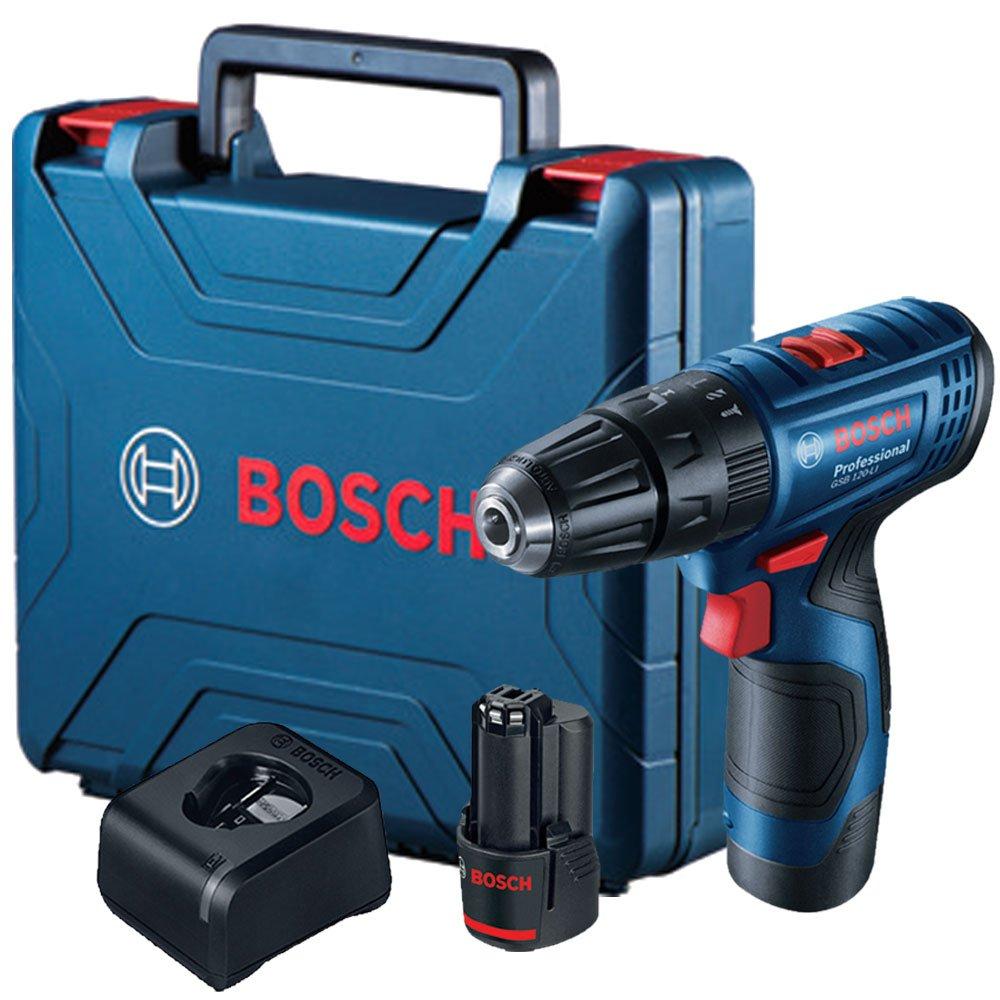 Parafusadeira e Furadeira de Impacto à Bateria 12v 2 Baterias e Maleta BOSCH GSB-120 Li
