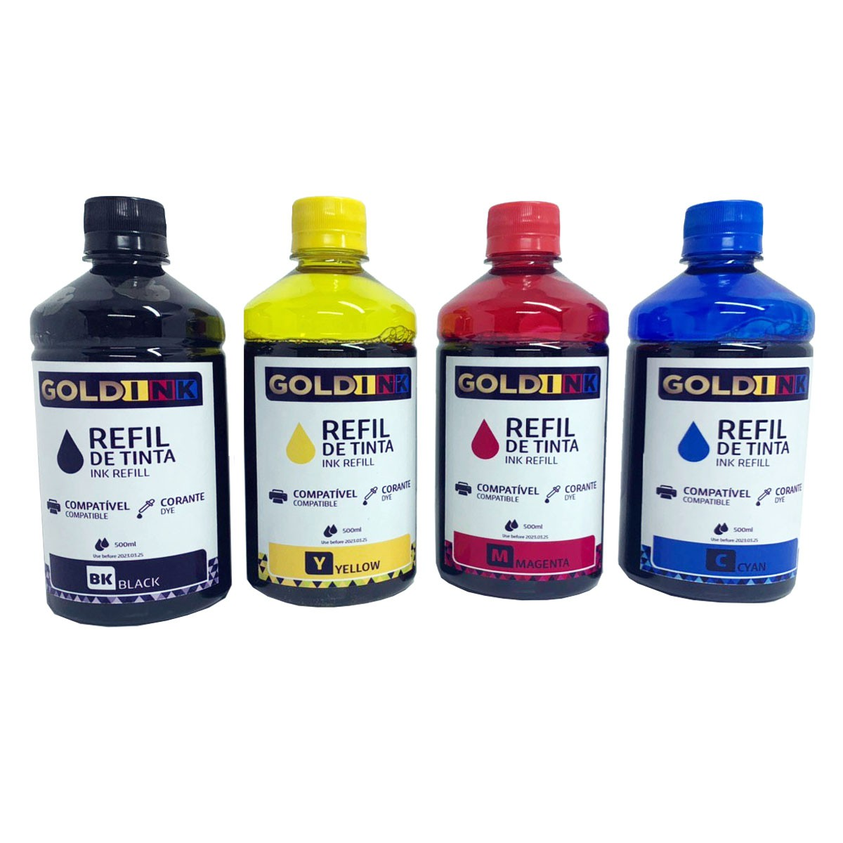Kit 4 Tintas Corante Gold Ink 500 Ml Ecotank Bulk Ink  para Impressoras Epson