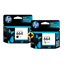 KIT CARTUCHO HP ORIGINAL 664 /F6V28AB COLOR/ F6V29AB BLACK / 3636 / 3776 / 3836 / 4536