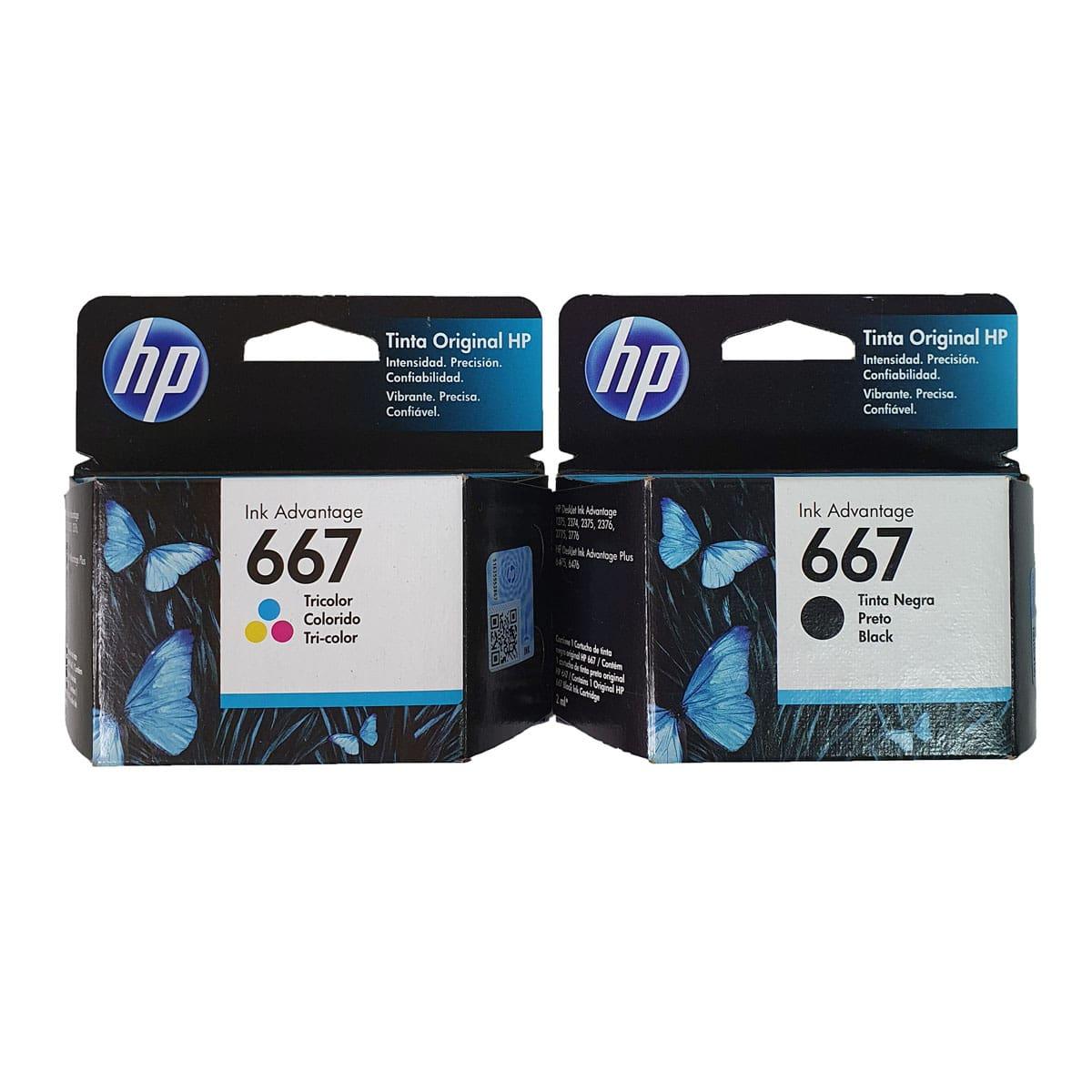 Kit Cartuchos de Tinta HP Ink Advantage 667 - Preto + Colorido